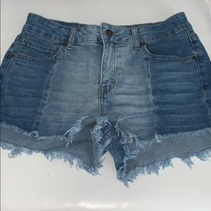 two toned jean shorts